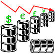 Oil Barrel Graph With Red Arrow Pointing Down. Vector Illustration