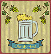 Oktoberfest Banner Glass Mug Beer With Foam And Hops Branch Old Style Vintage Background - Vector