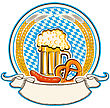 Oktoberfest Label With Beer And Food. Bavaria Flag Background With Scroll
