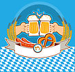 Oktoberfest Label With Hands Of And Beer.Vector Color Illustration For Text