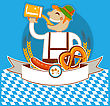 Oktoberfest Symbol Kabel With Man And Beer.Vector Color Illustration For Text stock illustration