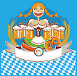 Oktoberfest Symbol Label With Woman And Beer.Vector Color Illustration For Text