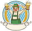 Oktoberfest .Vector Label With Man And Glasses Of Beer Isolated On White stock image