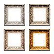 Old Antique Frame Set Over White Background. Gold, Silver And Bronze. stock photography