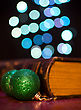 Old Book And Seasonal Decorations On Bokeh Lights Background stock photo