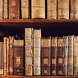 Old Books On A Shelf stock photo