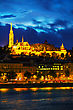 Old Budapest With Matthias Church At Night stock photography