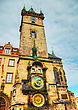 Old City Hall In Prague Early In The Morning stock image