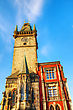 Famousplace Old City Hall In Prague Early In The Morning stock image