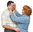 Old Couple, Wife Puts On Her Husband Glasses. Isolated