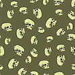Old Human Skull Seamless Pattern On Brown Background