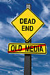 Old Media Dead End Intersection Road Sign Concept stock photo