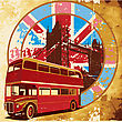 Old Paper Background With Round Vignette With Double Decker Bus On Background English Symbolism, Executed In The Limited Palette