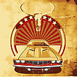 Old Paper Background With Round Vignette With Vintage Car On A Background Sunrise And Skull Of Buffalo, Executed In The Limited Palette