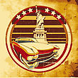 Old Paper Background With Round Vignette With Vintage Car On A Background American Symbolism And Statue Of Liberty, Executed In The Limited Palette