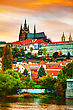 Old Prague Cityscape In The Evening At Sunset stock photo