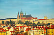 Old Prague Cityscape Overview In The Morning stock image