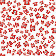 Old Red Phone Seamless Pattern On White Background