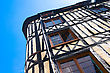 Gable Old Studwork House Facade And Blue Sky In Rouen, France, Normandie stock photography