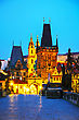 Old Town With Charles Bridge In Prague After Sunset stock photography