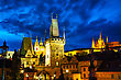 Old Town With Charles Bridge In Prague After Sunset stock image