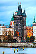 Old Town Charles Bridge Tower In Prague In The Evening stock image