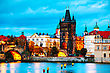 Old Town With Charles Bridge Tower In Prague In The Evening stock photography