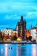Famousplace Old Town With Charles Bridge Tower In Prague In The Evening stock photography