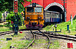 Old Train Of Thailand Was Run Out From Tunne stock photo