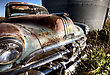 Old Vintage Car Amongst Granaries Saskatchewan Canada