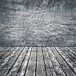 Old Wooden Floor And Concrete Wall, Abstract Backgrounds With Copy Space For Your Design stock photo
