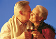 Older Couple Celebrating stock image