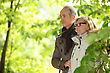 Older Couple Walking In The Woods stock image