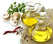 Pitcher Olive Oil Spices And Mushrooms stock photo