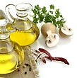 Virgin Olive Oil Spices And Mushrooms stock image