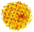 One Circular Golden Waffle stock photography