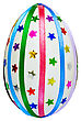 Macro One Easter Egg, Decorated With Multicolored Braid And Sparkles In The Form Of Stars Isolated On White Background stock photo
