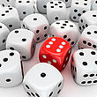 One Red Die With The Number Six In The Heap Of Unlucky White Dices stock image