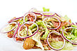 Onion Salad Of Meat With Roast Vegetables stock photography