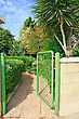 Opened Green Gate At The House. stock photography