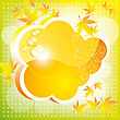 Orange Autumn Cloud With Leaves And A Patch Of Light. A Bright Card