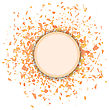 Orange Confetti Round Banner Isolated On White Background. Set Of Particles