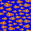 Orange Fish Seamless Pattern On Blue Background stock vector