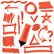 Orange Marker Isolated On White Background. Set Of Graphic Signs. Arrows, Circles, Correction Lines