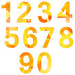 Orange Polygonal Numbers Isolated On White Background