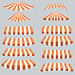 Orange White Tents Isolated On Grey Background