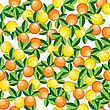 Oranges And Lemons Pattern, Abstract Seamless Texture