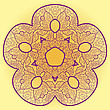 Greens Oriental Mandala Motif Round Lase Pattern On The Yellow Background, Like Snowflake Or Mehndi Paint On Yellow Color Background stock illustration
