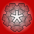 Oriental Mandala Motif Round Lase Pattern On The Red Background, Like Snowflake Or Mehndi Paint