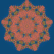 Oriental Mandala Motif Round Lase Pattern On The Blue Background, Like Snowflake Or Mehndi Paint In Blue Color